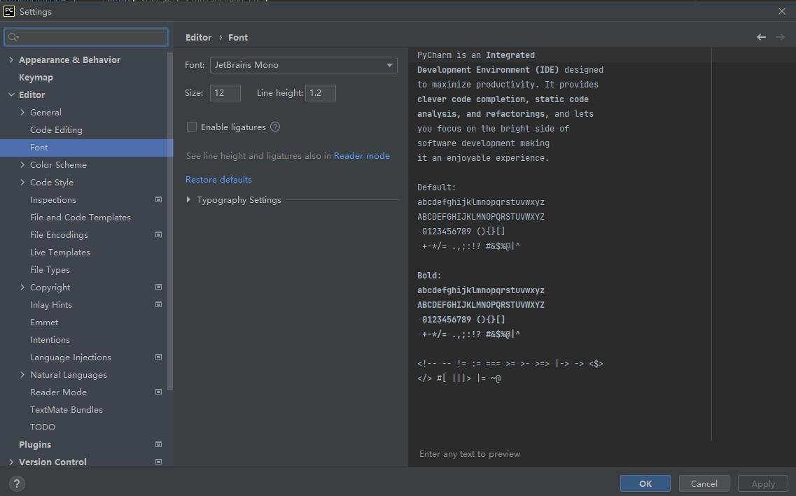 PyCharm设置代码文字格式及大小